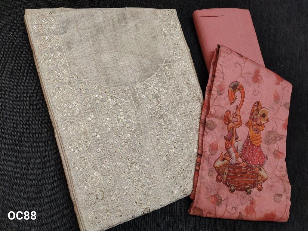 CODE OC88 : Premium Biege Semi Raw Silk unstitched salwar material(shiny fabric requires lining) with heavy embroidery work on yoke, Embroidery work on front side, sequins work on front side, plain back side, Sober Pink soft and think cotton bottom, Digital printed Sober Pink silk cotton dupatta with tassels