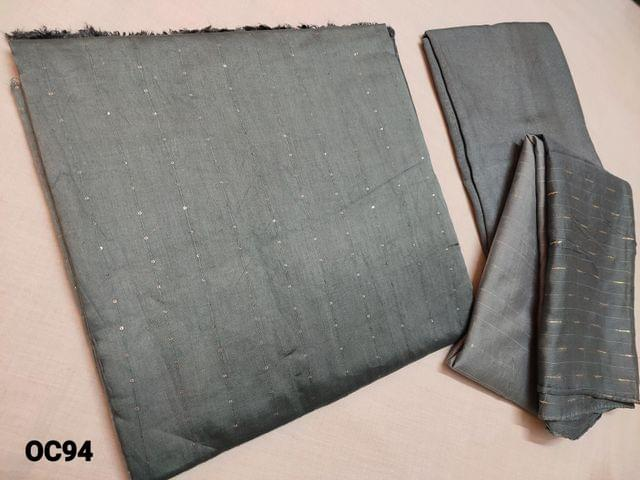 CODE OC94 : Multishaded Light Grey to Dark Grey Bhagalpuri Silk Cotton unstitched Salwar material(thin fabric requires lining) with Sequins weaving, Grey silk cotton bottom, Multishaded Bhagalpuri silk cotton short width dupatta with sequins weaving(Taping needs to be stitched)