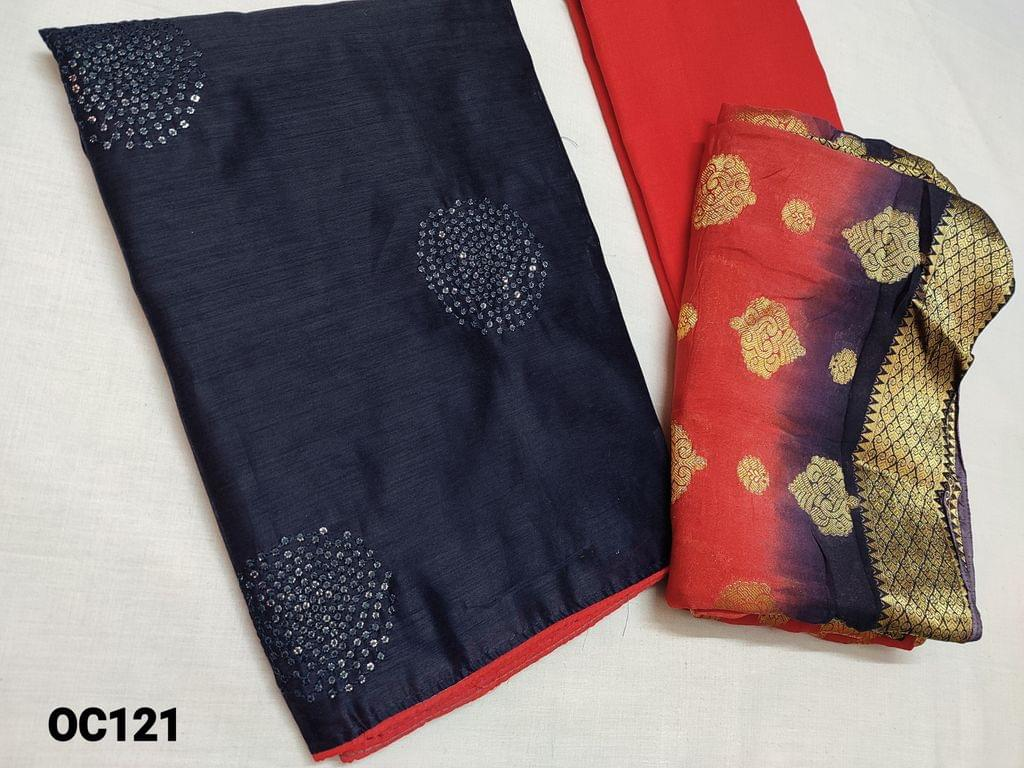 CODE OC121 :  Navy Blue Silk Cotton unstitched Salwar material(Thin fabric requires lining) with sequins and thread work on front side, plain back, Dark Peachish Pink cotton bottom, Heavy zari weaving on silk silk dupatta