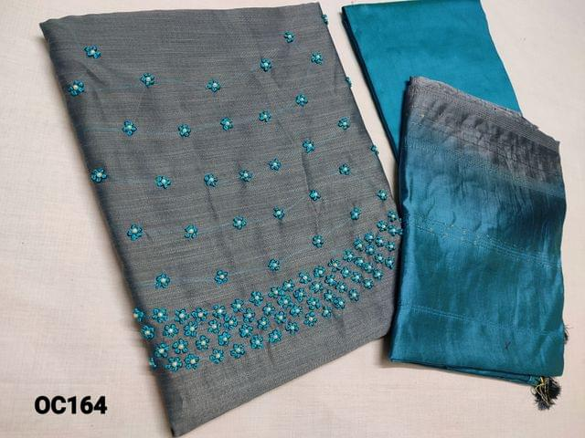 CODE OC164 : Grey Silk Cotton unstitched Salwar material(thin fabric requires lining) with Heavy french knot and Pearl bead work on yoke, Blue Silk cotton bottom, Dual Shaded soft silk cotton short width dupatta with Sequins work(Taping needs to be stitched)