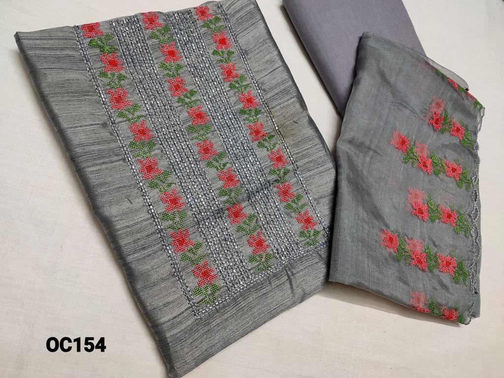 CODE OC154 : Designer Grey Silk Cotton unstitched Salwar material(thin fabric requires lining) with Heavy cut bead work and Thread embroidery work on yoke, thin cotton fabric can be use as lining or bottom, Organza dupatta with heavy thread embroidery and cut work taping