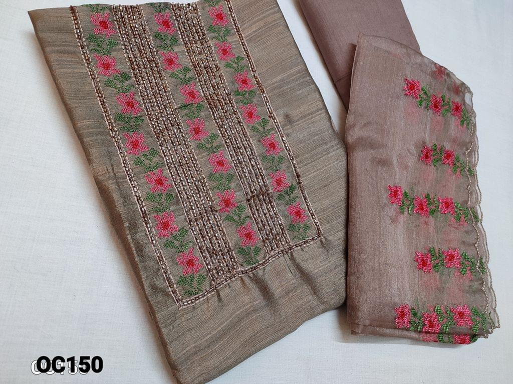 CODE OC150 : Designer Brown Silk Cotton unstitched Salwar material(thin fabric requires lining) with Heavy cut bead work and Thread embroidery work on yoke, thin cotton fabric can be use as lining or bottom, Organza dupatta with heavy thread embroidery and cut work taping