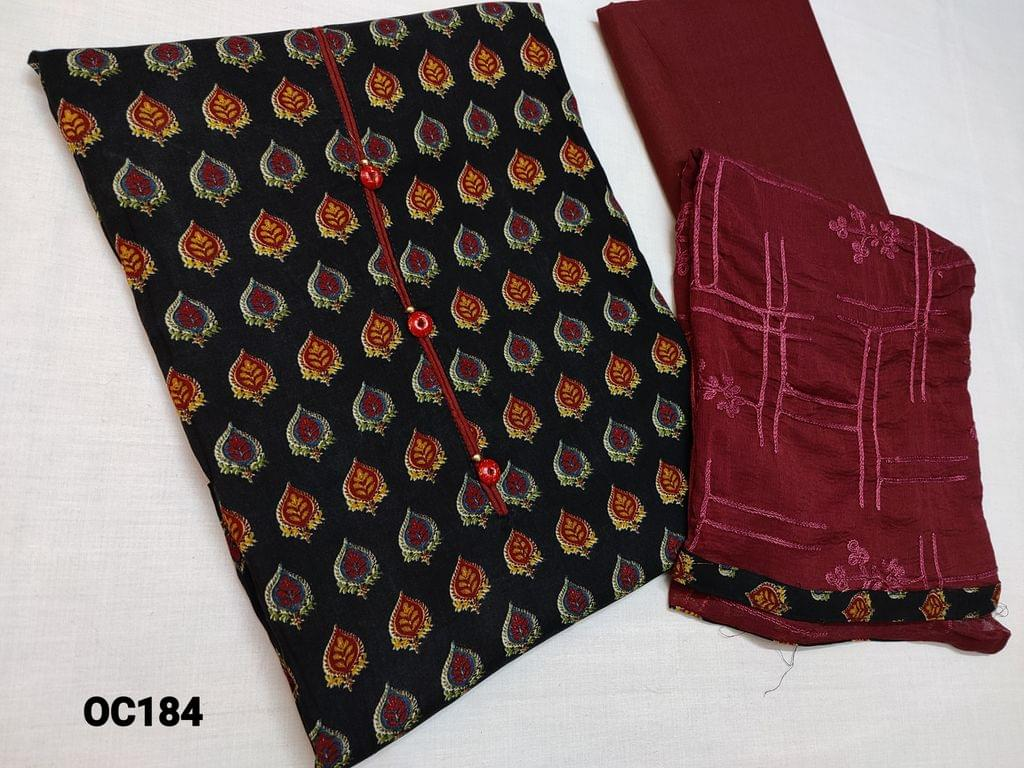 CODE OC184 : Black Premium Rayon Printed Unstitched Salwar material(Flowy fabric lining Optional) with fancy buttons on yoke, daman piping, Maroon cotton bottom, Maroon chiffon dupata with heavy thread work and taping