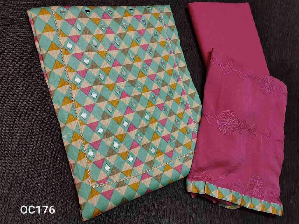 CODE OC176 : Blue base Printed Satin Cotton unstitched Salwar material(lining optional) with Real mirror work on yoke, with gota work on yoke, gota taping in daman, Pink cotton bottom, Pink chiffon dupata with heavy thread embroidery work and taping