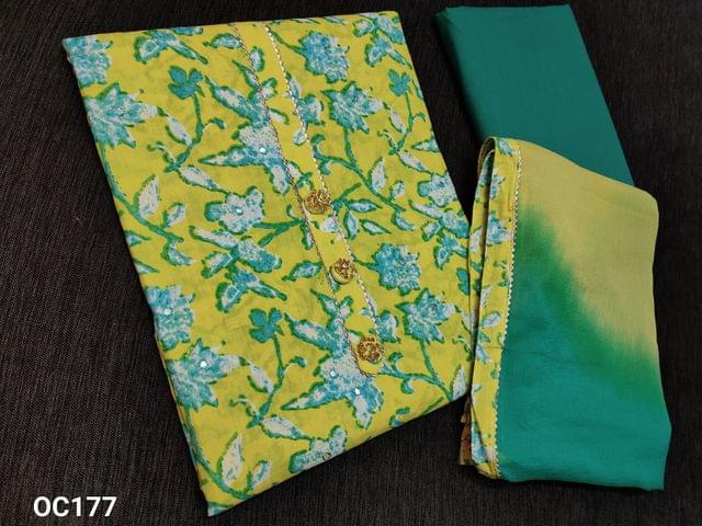 CODE OC177: Printed Lemon Yellow cotton Unstitched Salwar material(thin fabric requires lining) fancy buttons and gota work on yoke, gota taping on daman, Turquoise green cotton bottom, dual shaded chiffon dupatta with taping