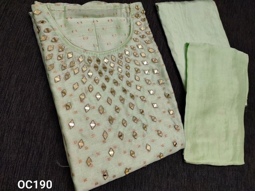 CODE OC190: Designer Pista Green Silk cotton unstitched Salwar material(thin fabric requires lining) with Real heavy mirror work on yoke, golden thread weaving butta on both sides, Santoon bottom, Original Pure Chinnon Chiffon dupatta with taping