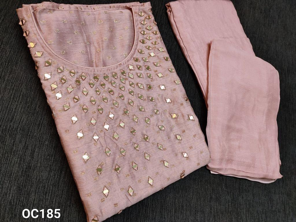 CODE OC185 : Designer Sober Pink Silk cotton unstitched Salwar material(thin fabric requires lining) with Real heavy mirror work on yoke, golden thread weaving butta on both sides, Santoon bottom, Original Pure Chinnon Chiffon dupatta with taping