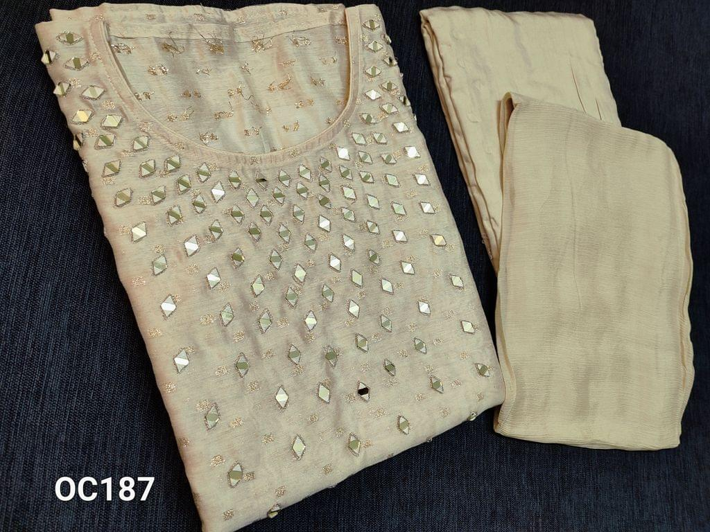CODE OC187 : Designer Beige Silk cotton unstitched Salwar material(thin fabric requires lining) with Real heavy mirror work on yoke, golden thread weaving butta on both sides, Santoon bottom, Original Pure Chinnon Chiffon dupatta with taping