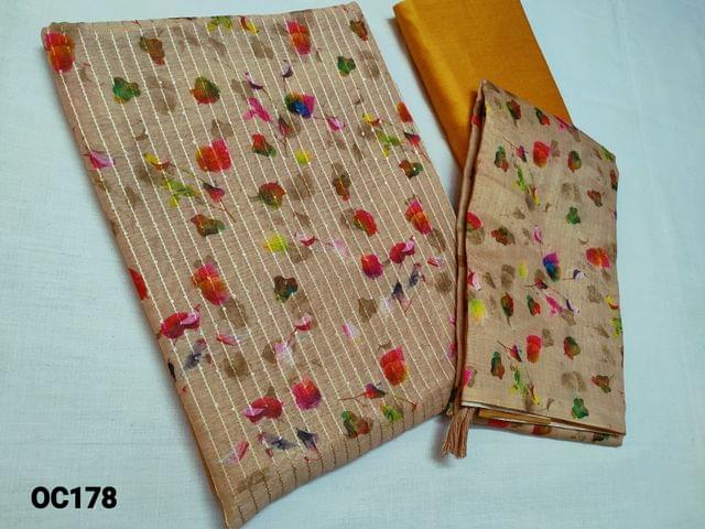 CODE OC178 : Designer Beige to Sand Brown Chanderi Silk cotton unstitched Salwar material(Thin Shiny fabric, requires lining) with digital prints and shaded Ombre pattern on front and back side, Heavy Sequins and thread weaving work on front side, Yellow Cotton or Silk cotton bottom, digital printed Silk cotton dupatta with tassels