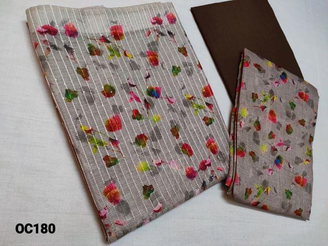 CODE OC180 : Designer Grey to Brown Chanderi Silk cotton unstitched Salwar material(Thin Shiny fabric, requires lining) with digital prints and shaded Ombre pattern on front and back side, Heavy Sequins and thread weaving work on front side, Brown Cotton or Silk cotton bottom, digital printed Silk cotton dupatta with tassels