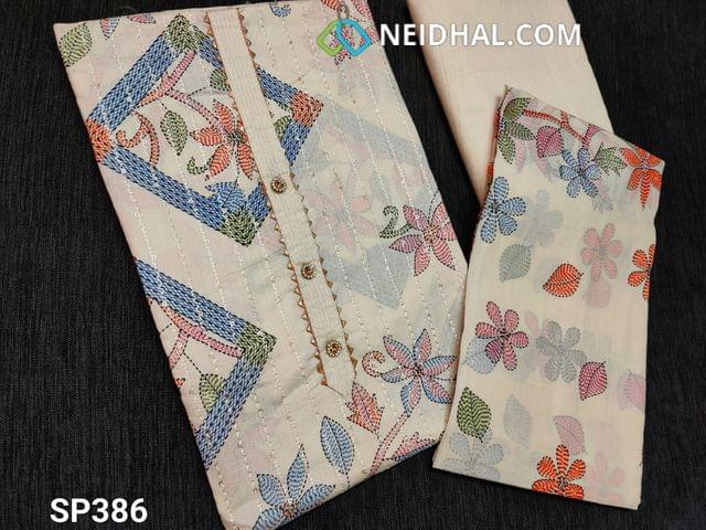 CODE SP386 : Printed Half White Soft Cotton unstitched Salwar material(thin fabric requires lining) with Fancy buttons on yoke, Sequins and thread weaving on front side, plain back, Thin Cotton fabric is provided you can use it as lining or if comfortable can be used as bottom, Printed thin cotton dupatta(Taping needs to be stitched)