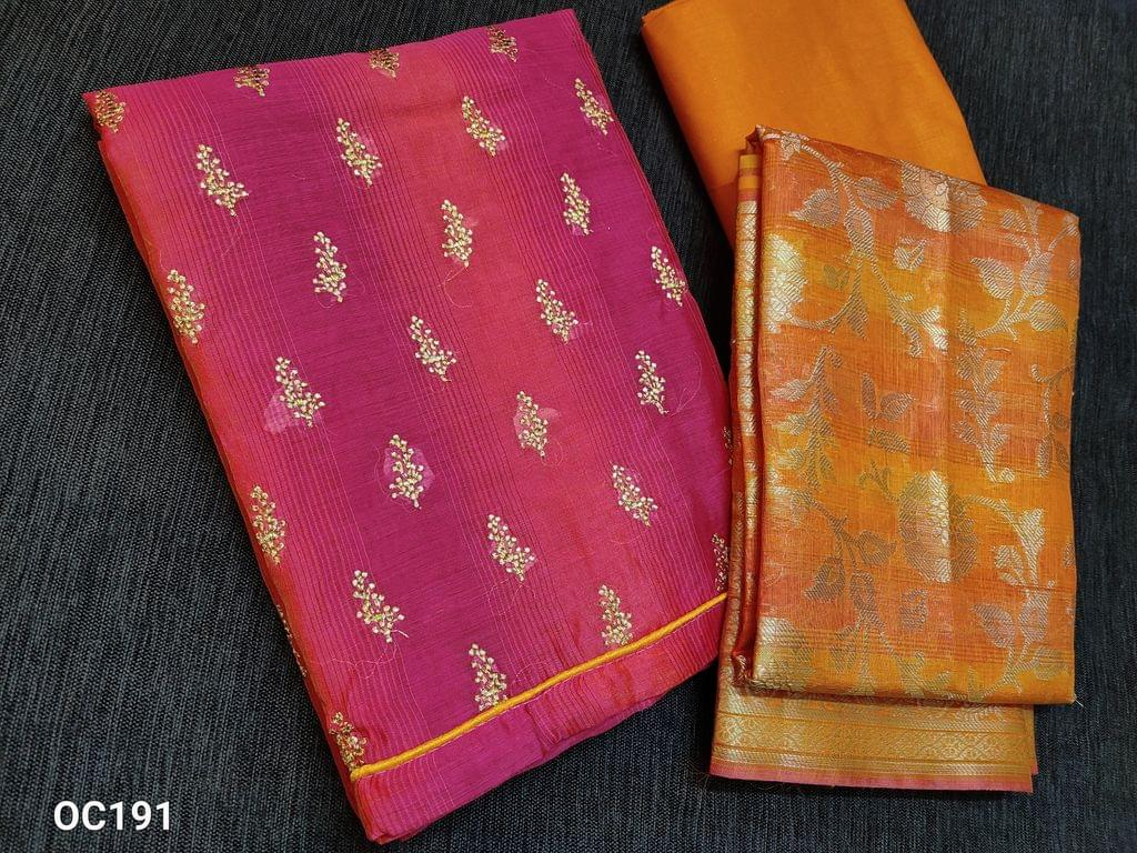 CODE OC191 : Pink Silk cotton unstitched Salwar material(thin fabric requires lining) with Zari thread work on front side, Yellow thin cotton bottom, Benarasi weaving silk cotton dupatta with tassels.