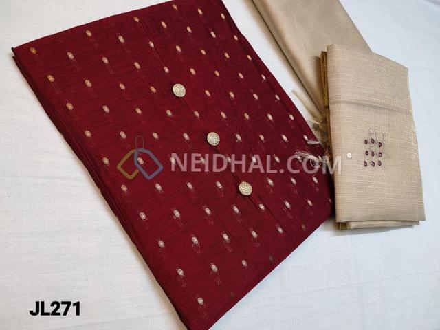 CODE A271 : Designer Maroonish Red Silk Cotton unstitched Salwar material(Thin Fabric, Requires lining) with zari butta work on either side, beige silk cotton bottom, foil mirror hand work on Tissue dupatta with tassels