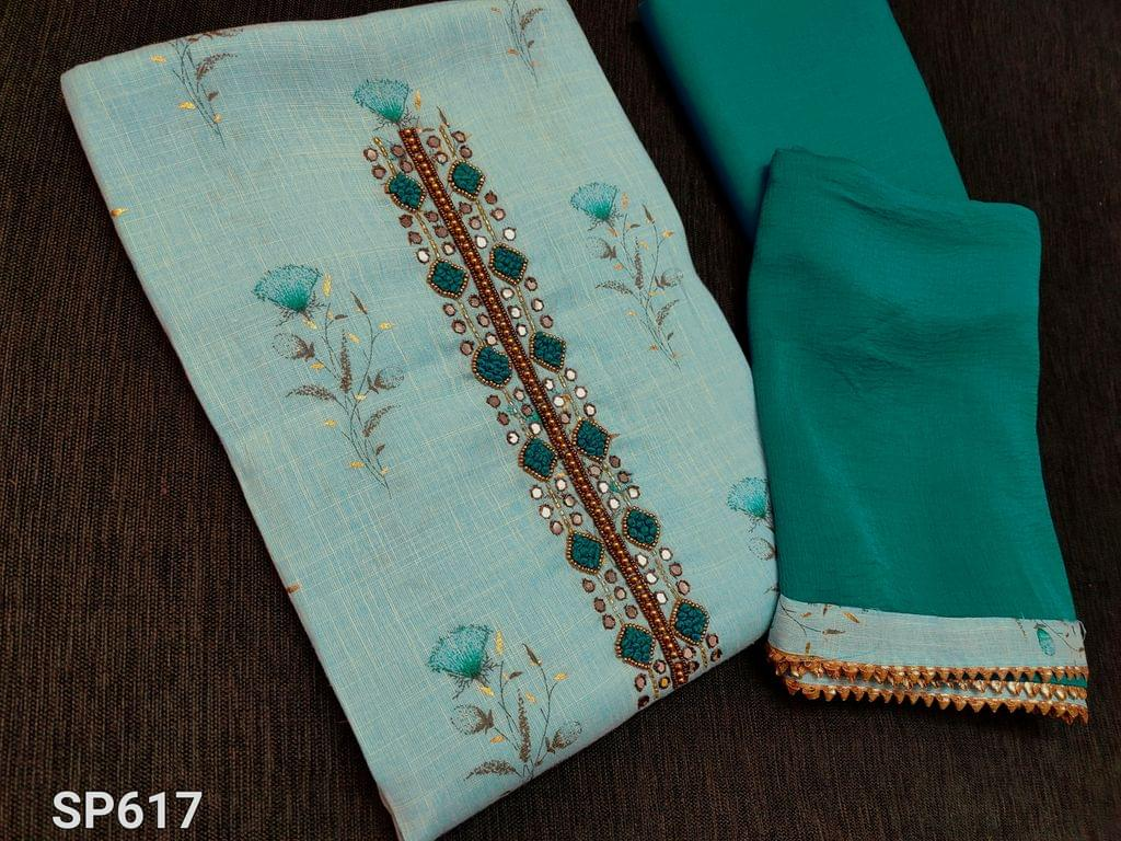 CODE SP617 : Light Turquoise Blue Liquid fabric unstitched Salwar material(flowy fabric) with floral prints, French knot and faux mirror work on yoke, Light Turquoise Blue cotton bottom, Blue chiffon dupatta with taping