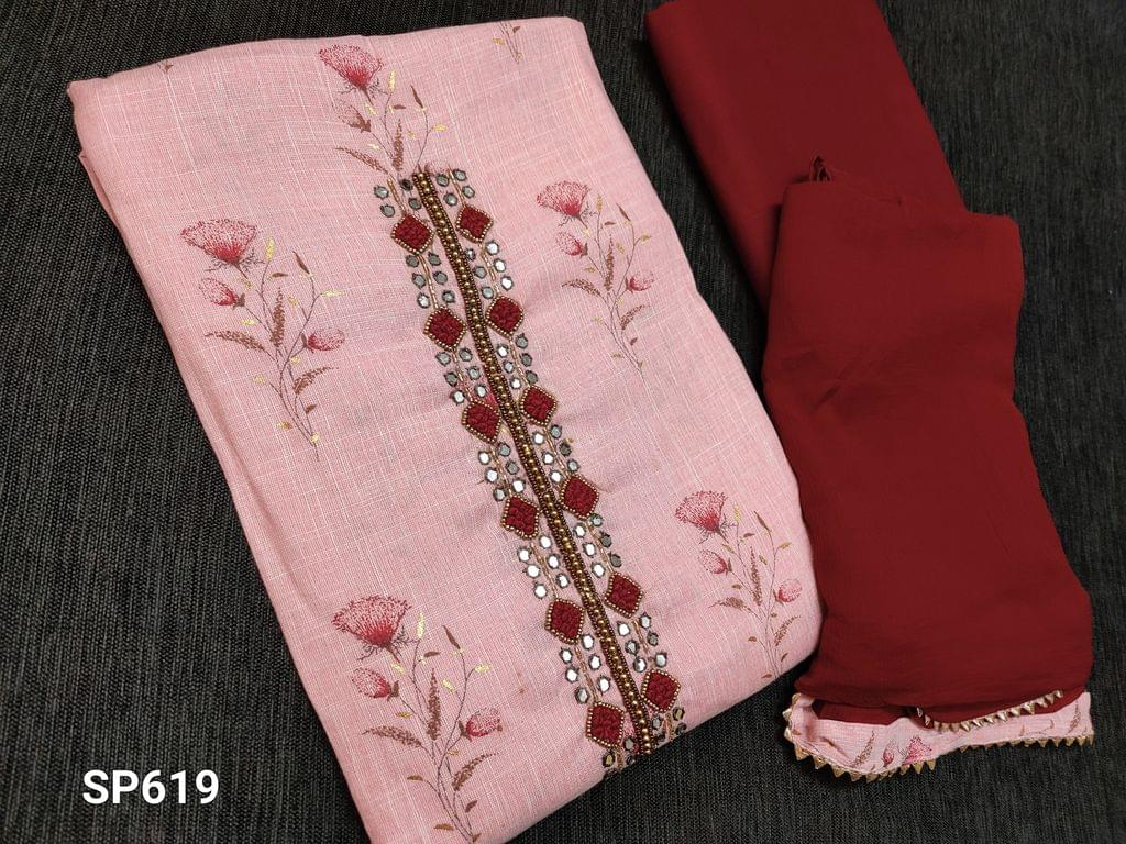 CODE SP619 : Pastel Pink Liquid fabric unstitched Salwar material(flowy fabric) with floral prints, French knot and faux mirror work on yoke, Maroon cotton bottom, Maroon chiffon dupatta with taping