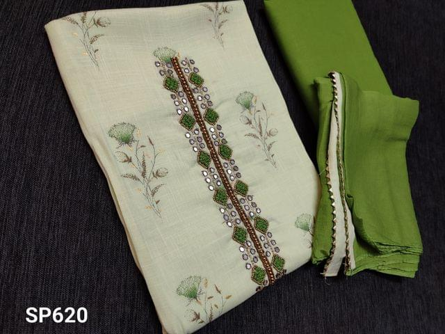 CODE SP620 : Pastel Green Liquid fabric unstitched Salwar material(flowy fabric) with floral prints, French knot and faux mirror work on yoke, Green cotton bottom, Green chiffon dupatta with taping