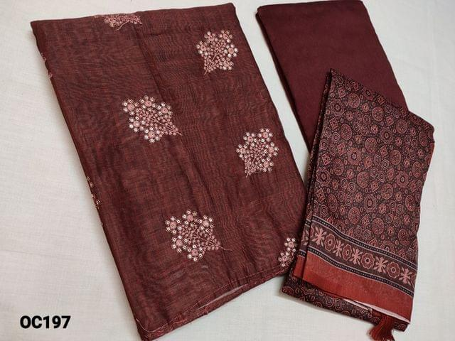 CODE OC197 : Dark Brown Silk cotton unstitched Salwar material(thin fabric requires lining) with Heavy thread and sequins work on front side plain back,  Silk cotton bottom, Digital Printed Silk cotton dupatta