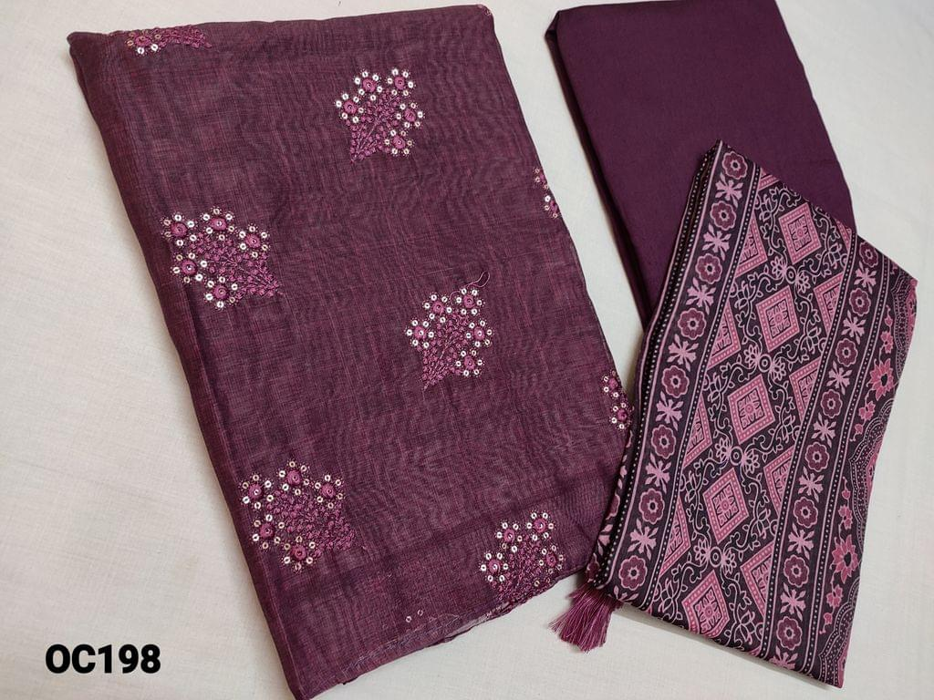 CODE OC198 : Dark Beetroot Purple Silk cotton unstitched Salwar material(thin fabric requires lining) with Heavy thread and sequins work on front side plain back,  Silk cotton bottom, Digital Printed Silk cotton dupatta