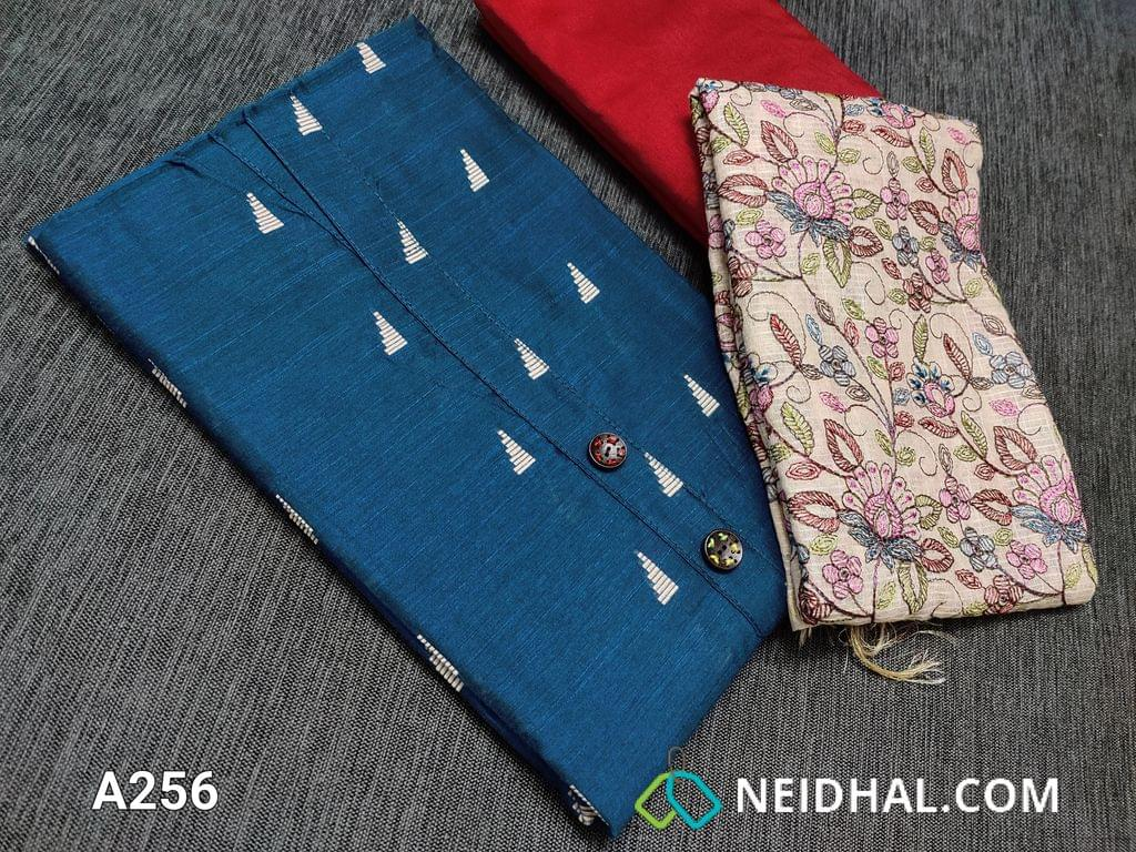 CODE LA256 : Designer Blue Silk Cotton unstitched Salwar material with Woven patterns, yoke with wooden buttons, Red Silk cotton bottom, soft silk cotton dupatta with multi color all over embroidery and zari borders on sides.