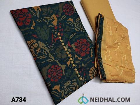 CODE A734: Bottle Green Flex Cotton Silk unstitched Salwar material(Soft, Smooth and Flowy Fabric) with Beautiful Floral prints, Potli buttons on yoke, Light Fenu Greek Yellow Cotton Bottom, Light Fenu Greek Yellow Chiffon dupatta with Embroidery work all over and tapings