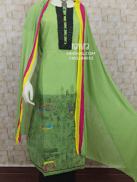 Designer Green South Chanderi top with Heavy Black Bead and pipe work wok Yoke, Printed and Colorful Embrroidery work on Lower portion of top, Black cotton bottom, Chiffon Dupatta with Colorful taping