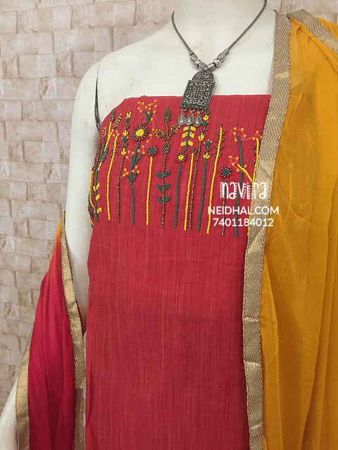 Designer Red Chanderi Unstitched Material with French knot work and Bead work on yoke, cotton bottom, Dual color chiffon dupatta with taping