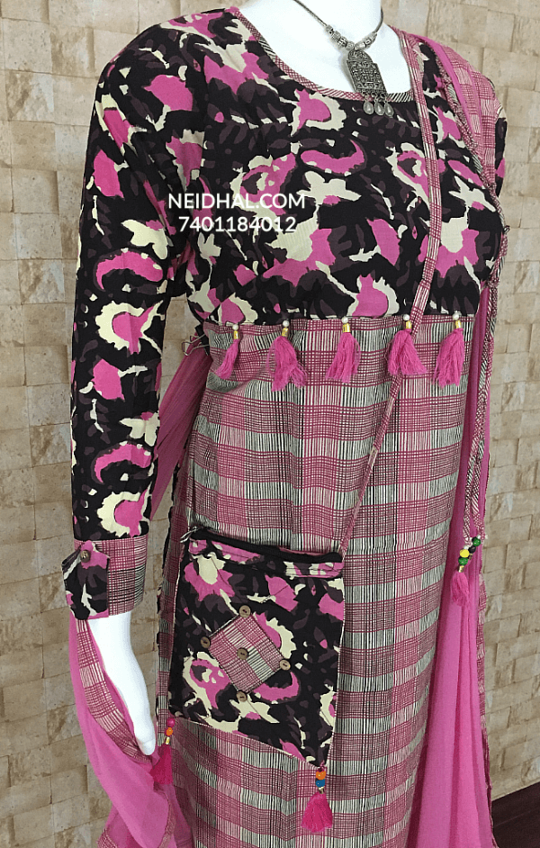 Pink Soft Cotton printed Semi stitched top with tassels on yoke, Cotton Bottom, Chiffon Dupatta with tassels, Matching Floral printed Sling Bag.