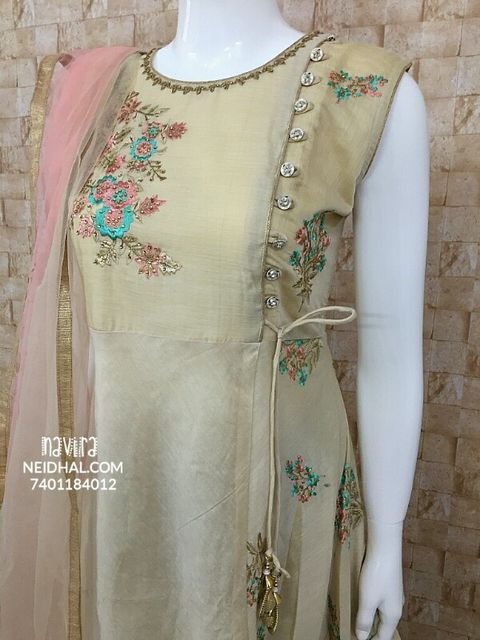 Designer Beige Chanderi Long Readymade Gown(with lining), with Embroidery work and stone work, Short sleeves included, Soft Netted Peach dupatta, Peach color leggins included (Check Size before Buying)