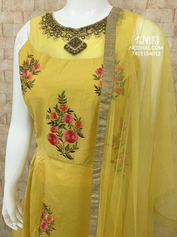 Designer Yellow Chanderi Embroidered Long gown(with lining),  stone,bead and zari embrodiery work on neck, separate short sleeves included, Soft netted Dupatta, yellow leggins included(Check Size before Buying)