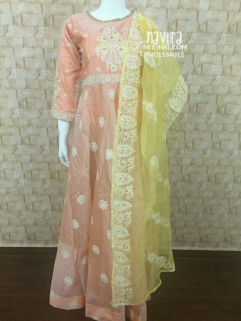 Designer Peach Chanderi Stitched Long gown(with lining),  embrodiery work on body, Light yellow embroidered Organza dupatta,  Peach leggins included(Check Size before Buying)