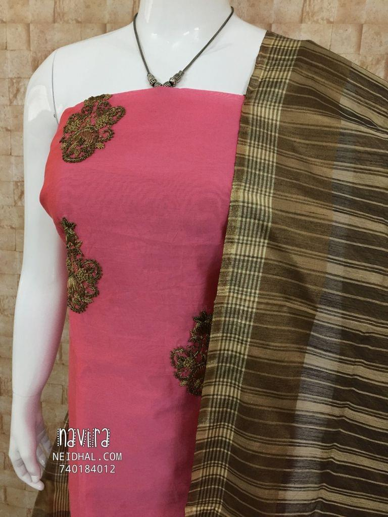 Designer Pink Chanderi unstiched Salwar material(requires lining) with Heavy work on golden zari knot and tube work onfront side,  cotton bottom, Printed chanderi dupatta with taping