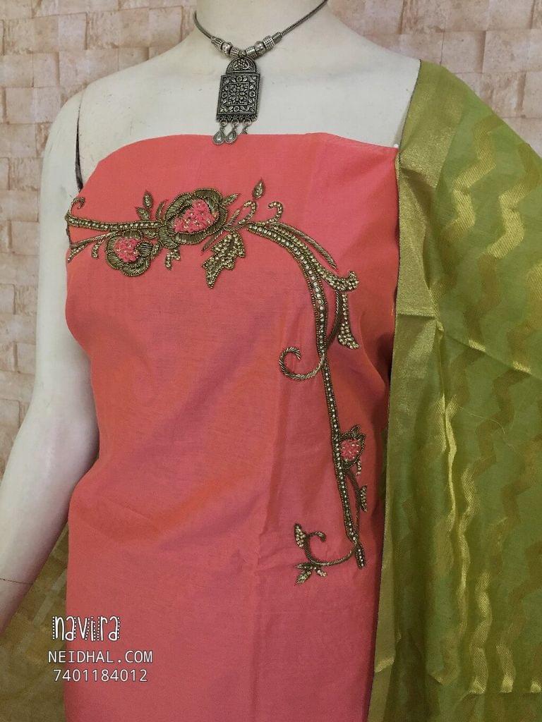 Designer Pink Silk cotton unstitched salwar material(requires lining) with Heavy hand work on yoke, Silk cotton bottom, Benarasi weaving dupatta with tassles.