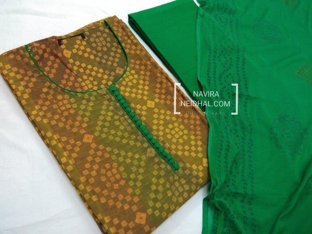 Designer Green printed Chanderi Unstitched Salwar material(requires lining) with neck pattern, Cotton bottom, Block printed green chiffon dupatta