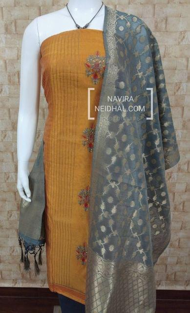 Designer Yellow chanderi unstitched salwar material(requies lining) Embroidery work one side, pintuck work on other side, plain back, Grey cotton bottom, Designer benaras weaving dupatta with tassels.