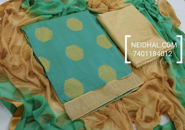 Blue Benaras Silk cotton unstitched Salwar material, daman zari patch, Beige Silk cotton bottom, Weaving on viscous dupatta with zari taping.