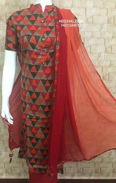 Printed Red Satin cotton Unstiched salwar material, cotton bottom, Dual color chiffon dupatta with tassels.