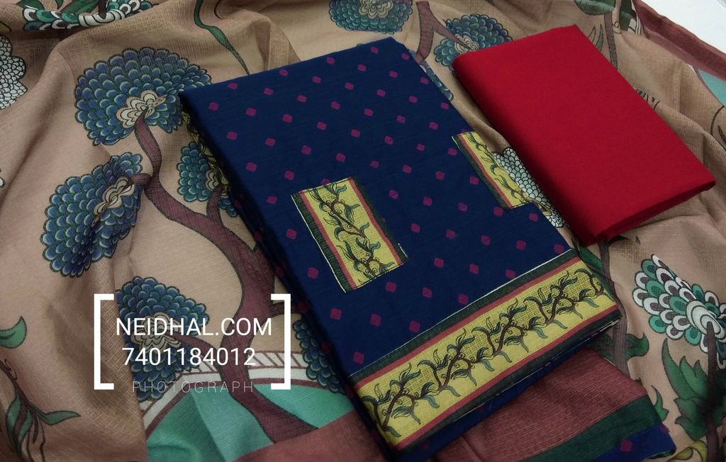 Blue Slub Silk Cotton unstiched salwar material with butta weaving, Kota patch work, daman patch, Red cotton bottom, Printed Kota silk cotton dupatta with taping.