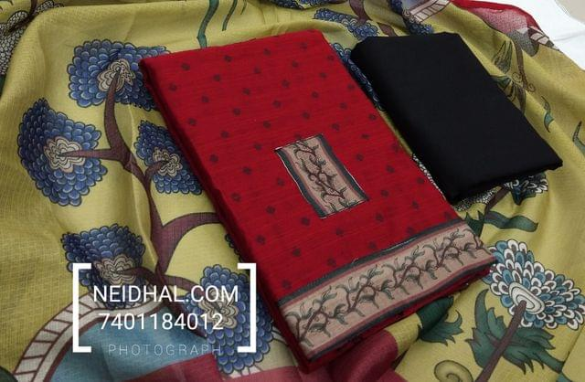 Red Slub Silk Cotton unstiched salwar material with butta weaving, Kota patch work, daman patch, Black cotton bottom, Printed Kota silk cotton dupatta with taping.