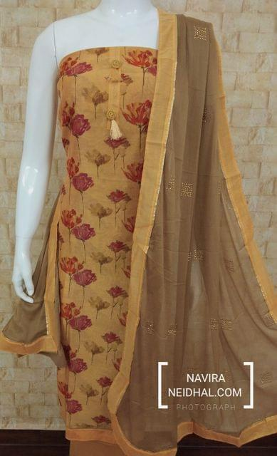 Designer Orange Chanderi unstitched salwar material(requires lining) with digital prints, cotton bottom, pure chiffon dupatta with golden dew drops work with taping
