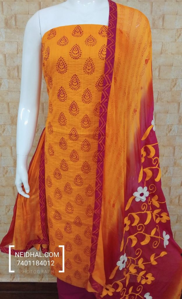 Orange Block Printed Pintuck unstitched salwar material, Pink Cotton bottom, dual color chiffon dupatta with aari and foil mirror work and taping