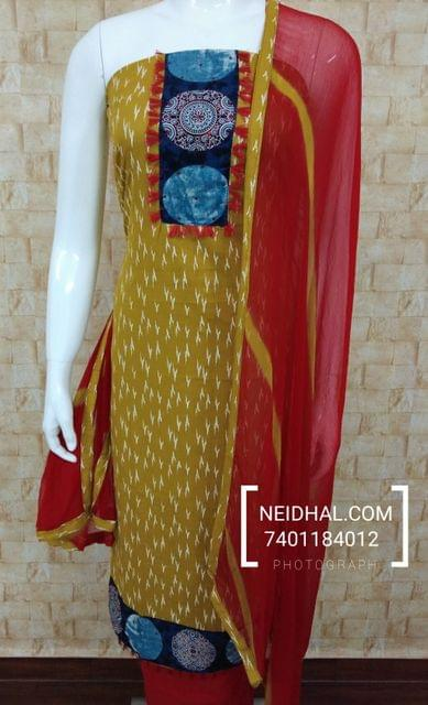 Fenu greek Yellow Soft Cotton Unstitched salwar material with yoke, red cotton bottom, red chiffon dupatta with taping.