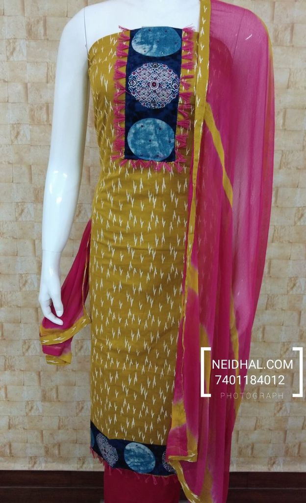 Fenu greek Yellow Soft Cotton Unstitched salwar material with yoke, pink cotton bottom, pink chiffon dupatta with taping.
