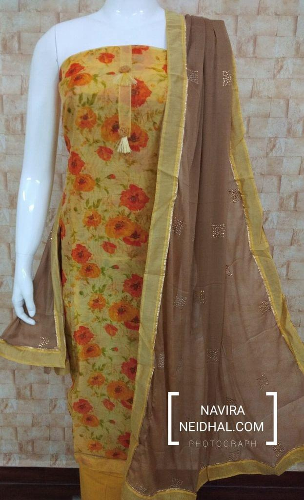 Designer Yellow Chanderi unstitched salwar material(requires lining) with digital prints, cotton bottom, pure chiffon dupatta with golden dew drops work with taping