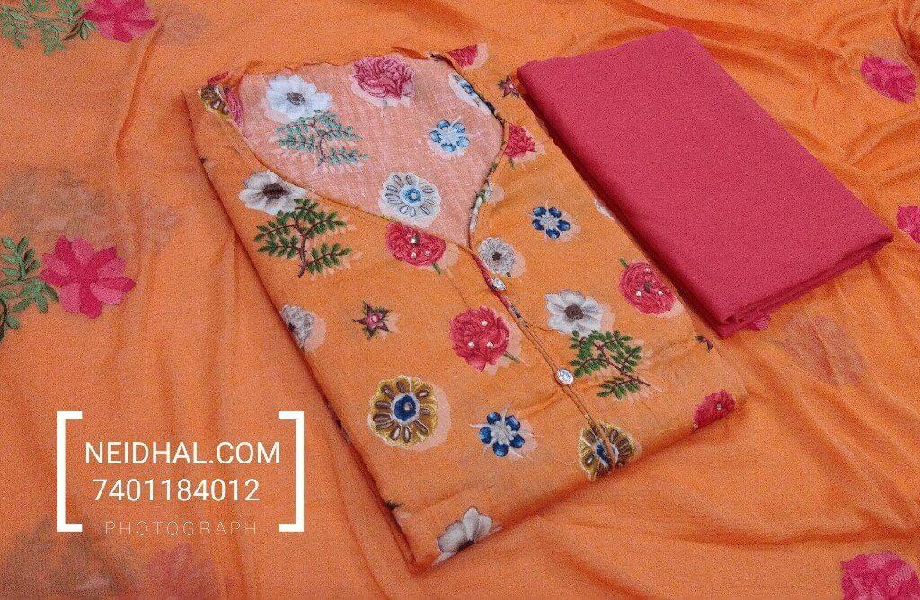 Floral Desige Orange Satin cotton unstiched salwar material with mini stone work, fancy button on yoke, neck patten, Cotton bottom, embroidery work on chiffon dupatta with tappings.