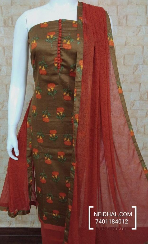 Floral Printed Brown Satin Cotton unstitched Salwar material with potli buttons on yoke, peach cotton bottom, Printed chiffon dupatta with taping.