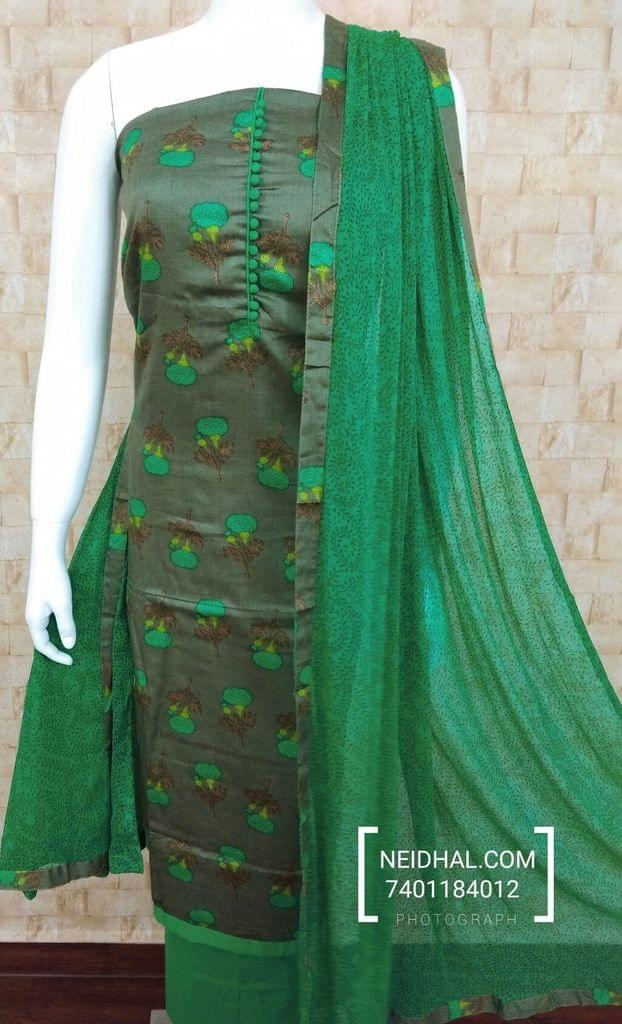 Floral Printed greenish Grey Satin Cotton unstitched Salwar material with potli buttons on yoke, green cotton bottom, Printed chiffon dupatta with taping.