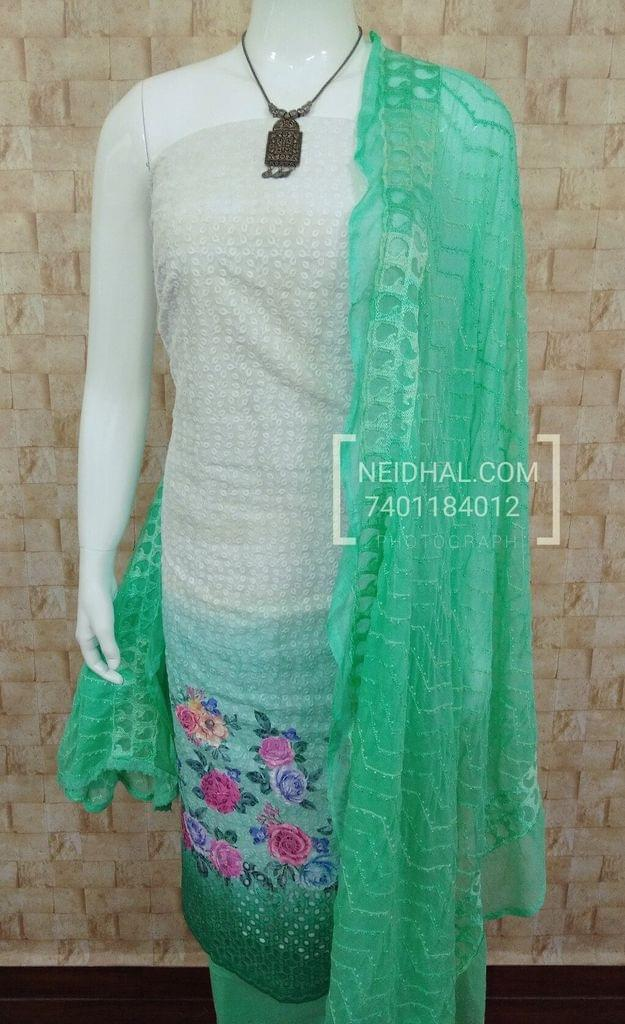 White Cotton Chikan work Unstitched salwar material(requires lining)with beautiful digital prints, Greensih Blue cotton bottom, embroidered Chiffon dupatta with lace tapings