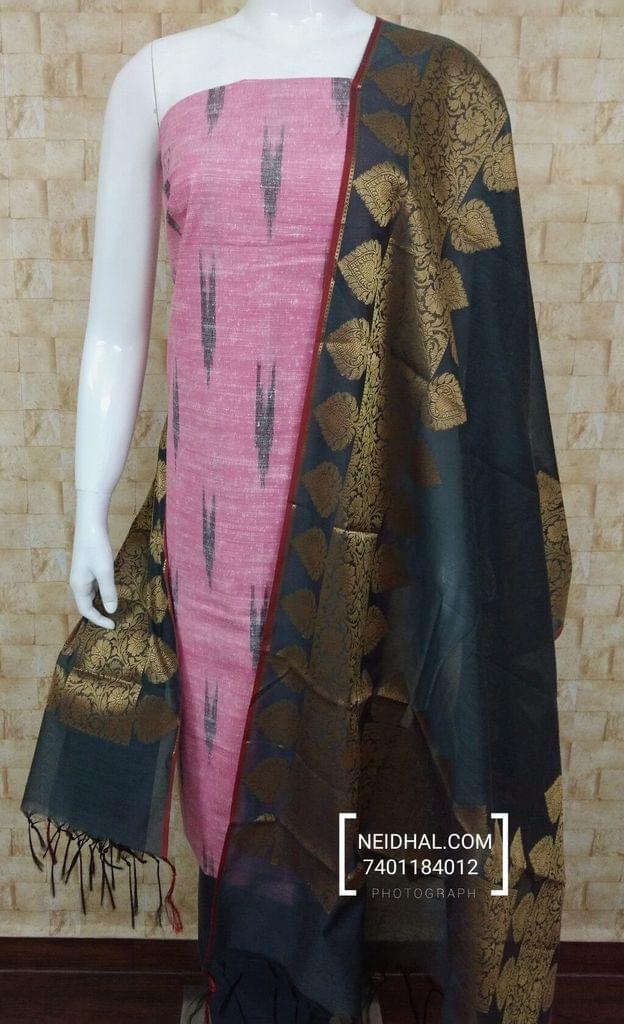 Ikkat Printed Pink khadhi Cotton unstitched salwar material, grey cotton bottom,Benaras weaving silk cotton dupatta with tassels