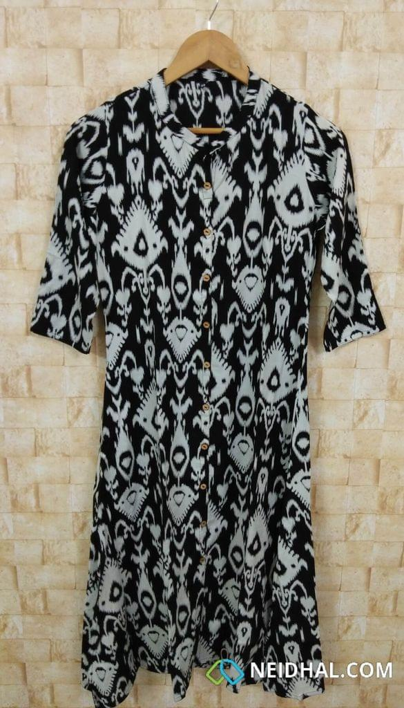 Printed Black Modal fabric Kurti(Refer Size chart, 2nd pic before ordering, No Refund, No Return, No exchange, No cancellation), Mandarin Collar, Height 44, 3/4 Sleeves, front and side slits. front placket.