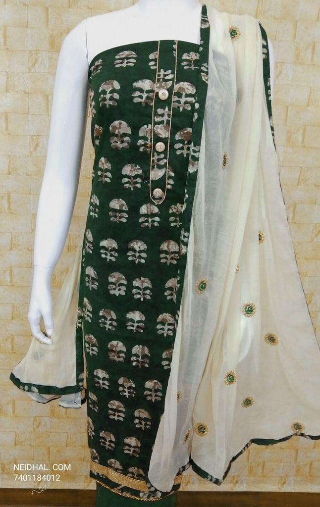 Batik Printed green Cotton Unstitched salwar material with fancy buttons on yoke, green cotton bottom,  Zari and Thread Embroidery on chiffon duaptta with tappings